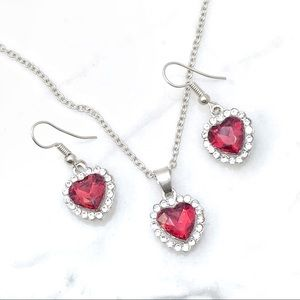 Jewelry - Valentine's Day Special  Red Crystal Hearts Set